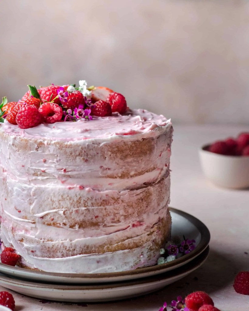 Vegan Vanilla Layer Cake with Raspberry Jam
