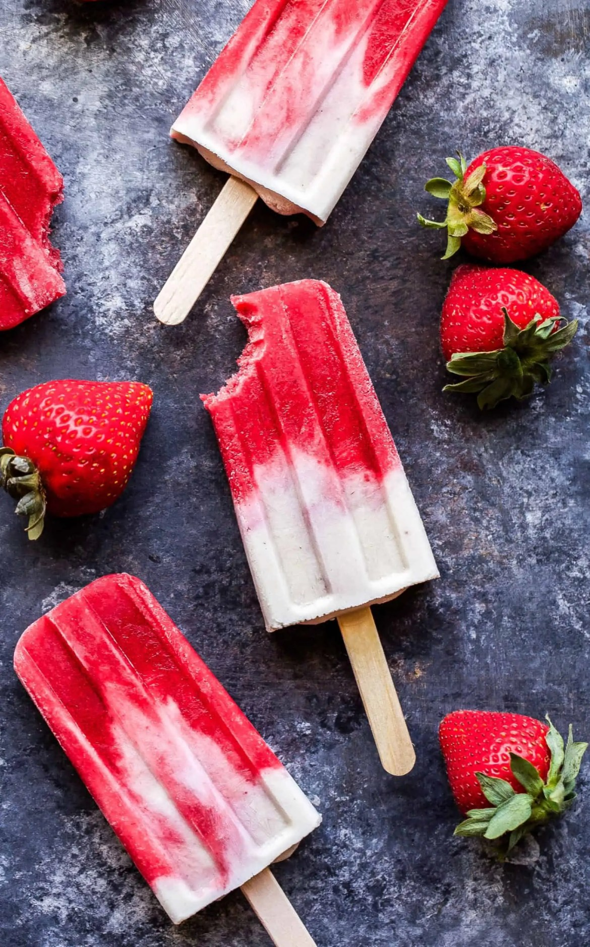 Vegan Strawberries and Cream Popsicles