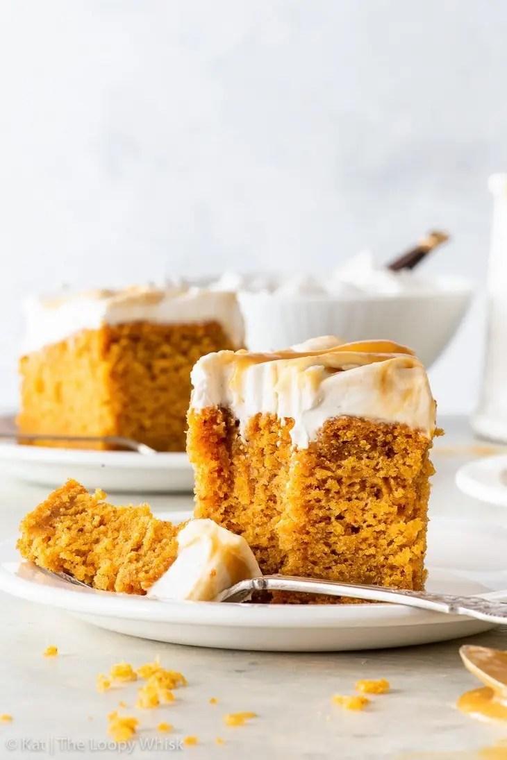 Vegan Pumpkin Cake with Butterscotch Swirl Frosting