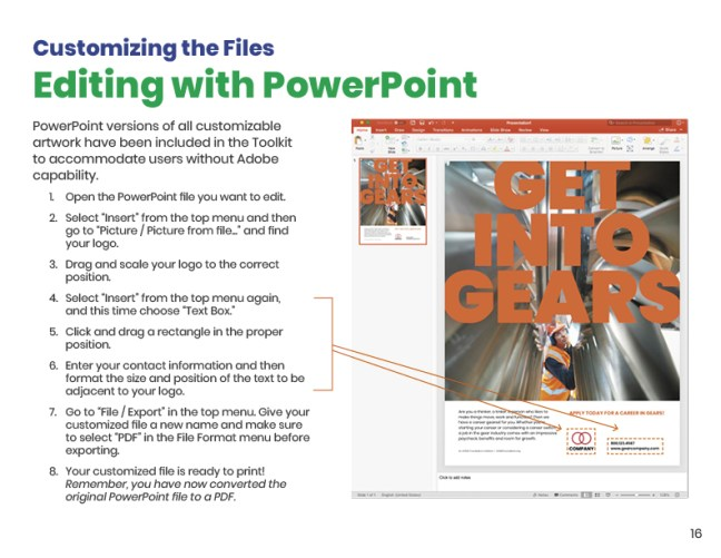 Get Into Gears Toolkit User Guide PPT Editing Page