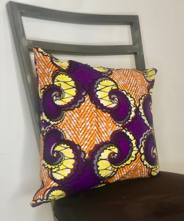 African print pillow - orange and purple