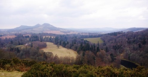 The Eildon Hills in the countryside where Duns Scotus was born.