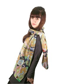 Agnes-Ashe-hand-painted-silk-scarf-Ophelia-gold-model- copy