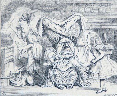 The Duchess, from Chapter VI, Pig and Pepper, from 'Alice's Adventures In Wonderland' by Lewis Carroll. 1898 Illustration by John Tenniel (from my grandmother's 1905 edition)