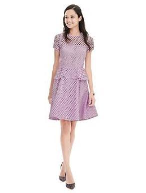 Geo Lace Peplum Dress - Lilac