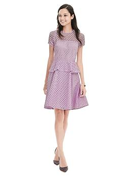 Geo Lace Peplum Dress - Lilac