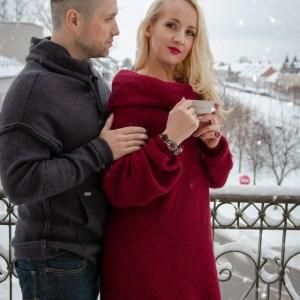 šilta megzta suknelė