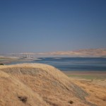 San Luis Reservoir, Central California, in drought condition in 2008, water at 20% of capacity