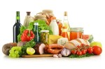 variety of grocery products - vegetables, fruits, meat, dairy, wine