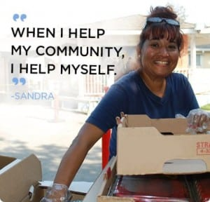 Second Harvest Food Bank volunteer and client