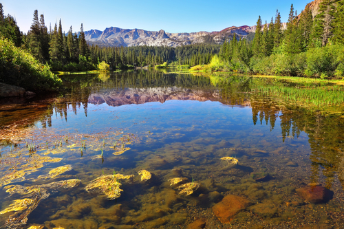 Magnificent lake in vicinities of small city Bishop in California