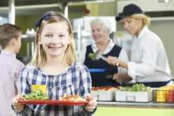 Female Pupil With Healthy School Lunch In School Canteen
