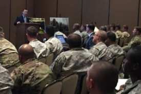 USDA Deputy Under Secretary Lanon Baccam talks futures in Ag for veterans to a packed house at a Ft. Bliss transitions summit in El Paso, Texas. (Photo courtesy CDFA)