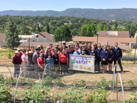 Secretary Ross joins her hosts in salutes to the CalAgPlate program at Calaveras High School (above) and at Metzger Farms (below)