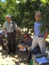 California State Board of Food and Agriculture president Craig McNamara (far right) in New Yavne, Hamerkaz, Israel.