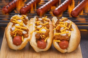 Chili Hot Dog and Flaming Barbecue Grill
