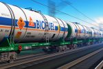 Freight train with biofuel tankcars-renewable