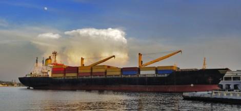 container-cargo-ship-docked-in-havana-bay-poultry cuba week