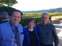 CDFA Secretary Karen Ross congratulates Bob Wynn, Senior Advisor and Statewide Coordinator of the Pierce's Disease Control Program (right), and John Hooper with CDFA's Pest Detection/Emergency Projects office (left).
