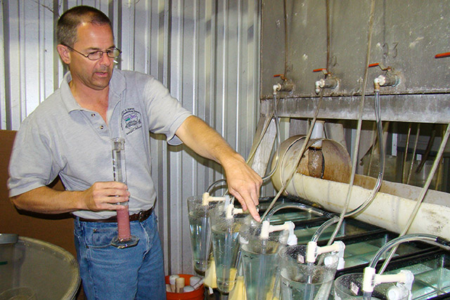 ARS aquatic toxicologist Dave Straus adds fish eggs to hatching chambers in a study at Keo Fish Farm. Photo by Cindy Ledbetter, Agricultural Research Service
