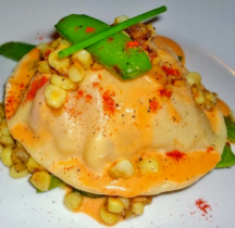 Ravioli of Sauted Peas with Lobster