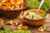 Chanterelles mushroom with cream and parsley.