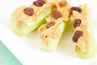 Ants on a log. Celery sticks with peanut butter and raisins.