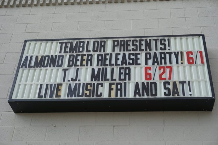 almond beer release party sign