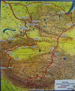 Карта экспедиции Рерихов