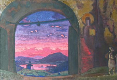 Картина Николая Рериха. «Преподобный Сергий Радонежский» (1922, известна и как «Юность Преподобного Сергия»)