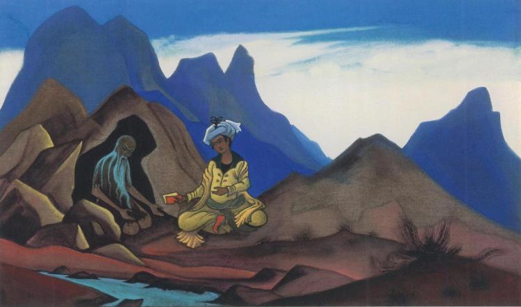 Картина Николая Рериха. Искандер и отшельник. 1938