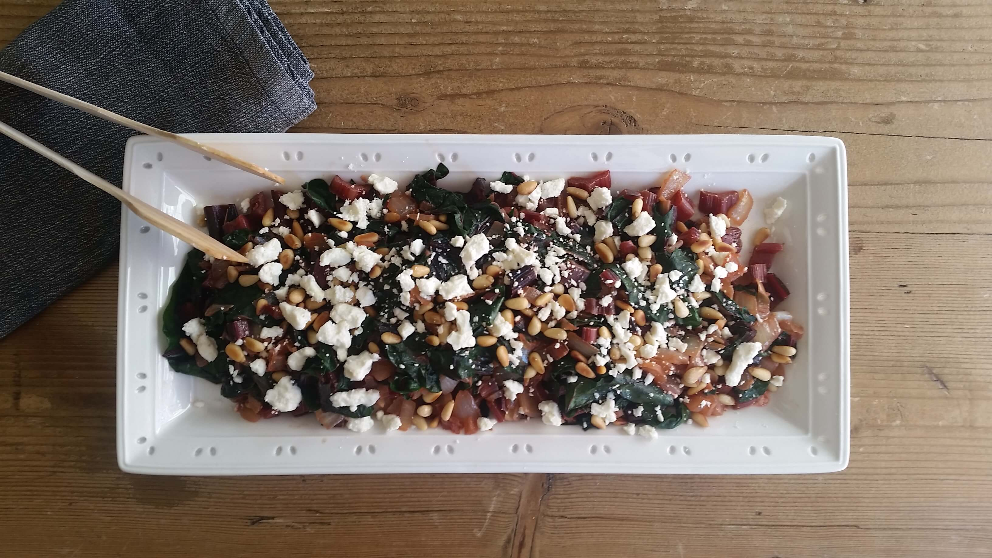 Chard with Pine Nuts and Feta Cheese Recipe