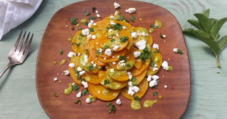 Roasted Beet Salad with Garlic-Cumin Vinaigrette and Goat Cheese