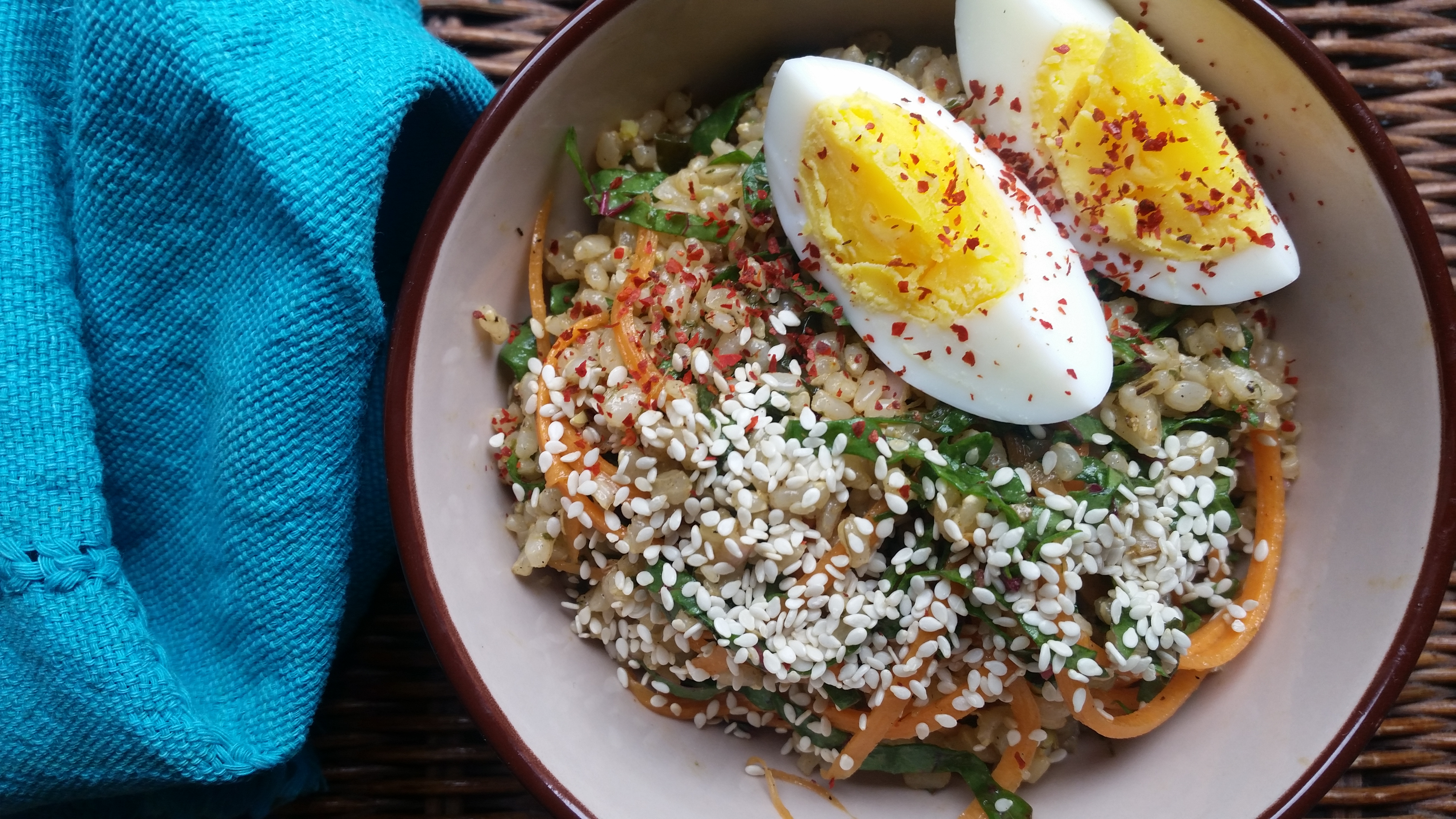 Brown Rice Salad Recipe with Charred Scallion Vinaigrette