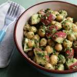 Chickpea Salad Recipe with Radish Leaf-Mint Pesto