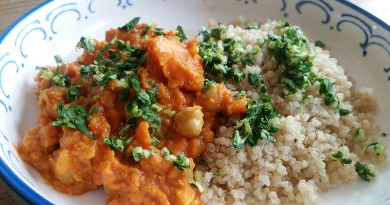 Chickpea and Butternut Squash Stew Recipe with Cilantro-Lime Gremolata