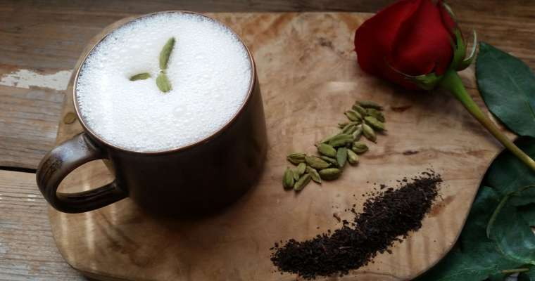 Cardamom Rosewater Tea Latte Recipe with Homemade Almond Milk