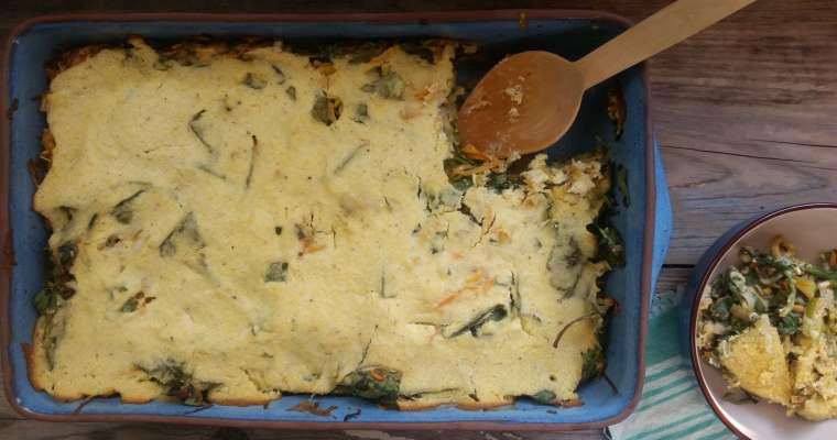 Cornmeal Pie Recipe with Greens and Leeks
