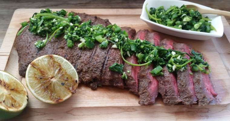 Flat Iron Steak Recipe with Cilantro-Lime Gremolata