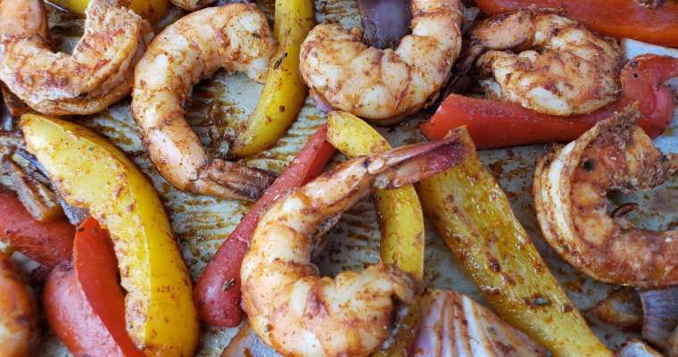 Sheet Pan Shrimp with Peppers and Onions