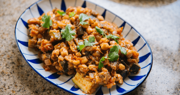 Roasted Eggplant with Spiced Chickpeas and Tomato