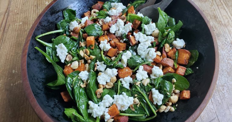 Wilted Spinach Salad with Sweet Potato, Feta, and Pine Nuts