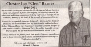 "Display obituary for Chester Lee ""Chet"" Barnes"