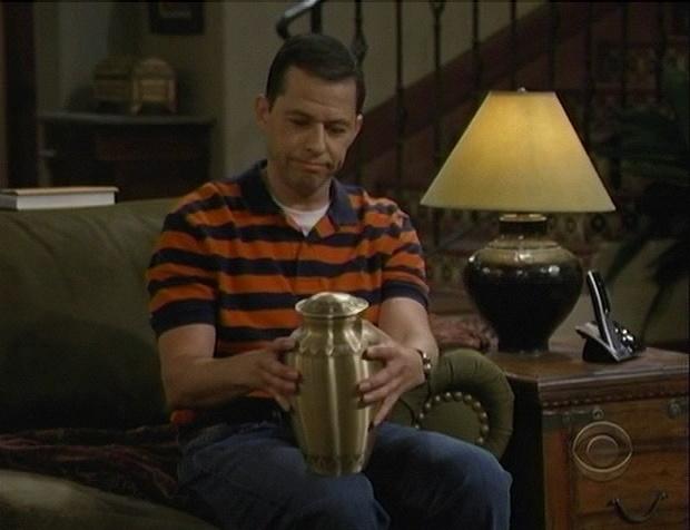 Alan with Charlie Harper's Urn