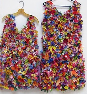 Recycled Cemetery Flower Dresses