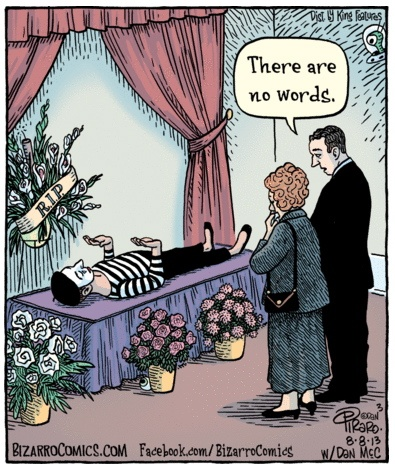 Bizarro Mime Funeral Cartoon