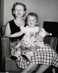 Merri Rudd and her mother in 1956