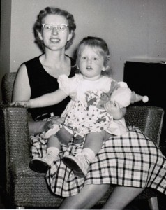 Merri Rudd and her mother in 1956