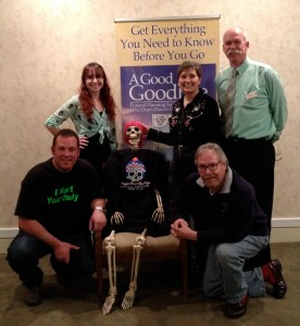 L to R: Heath Carroll, Marika McMeans, Lola the ABQ Death Cafe mascot, Gail Rubin, CT, Doug Reedy and Bob Sweeney, Jr.