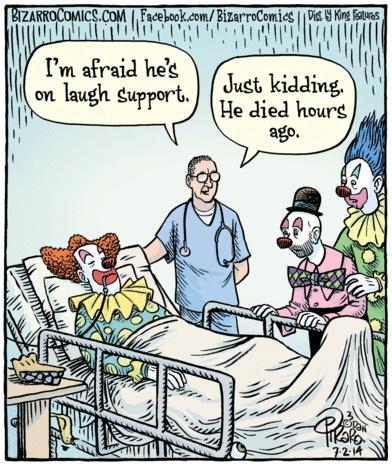 Bizarro Clown Laugh Support Cartoon
